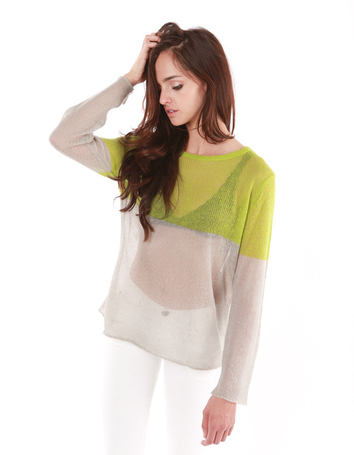 IO Sweater Lime / LT Grey<br><font color=red><STRIKE>USD $105.00</strike></font>