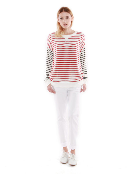 Iris Sweatshirts Red/Black Stripe<br><font color=red><STRIKE>USD $118.00</strike></font>