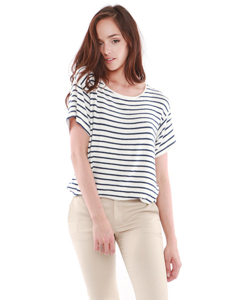 Jupiter Short Sleeve White/Black Stripe