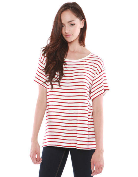 Jupiter Short Sleeve White/Red Stripe<br><font color=red><STRIKE>USD $73.00</strike></font>