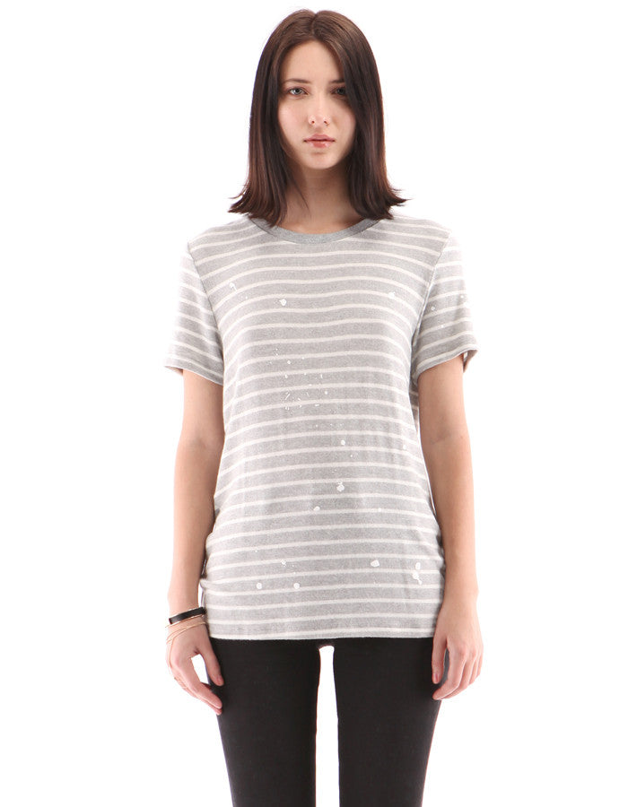Leah Short Sleeve Heather Grey/White