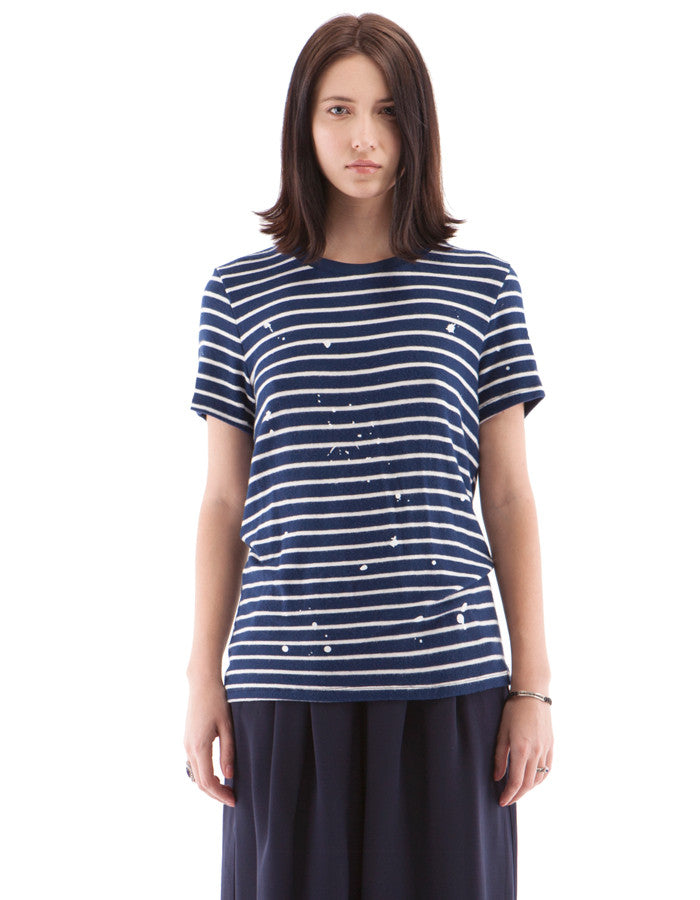 Leah Short Sleeve Navy/White