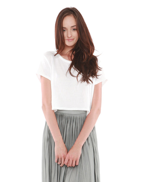 Leporis Short Sleeve Crop White<br><font color=red><STRIKE>USD $53.00</strike></font>