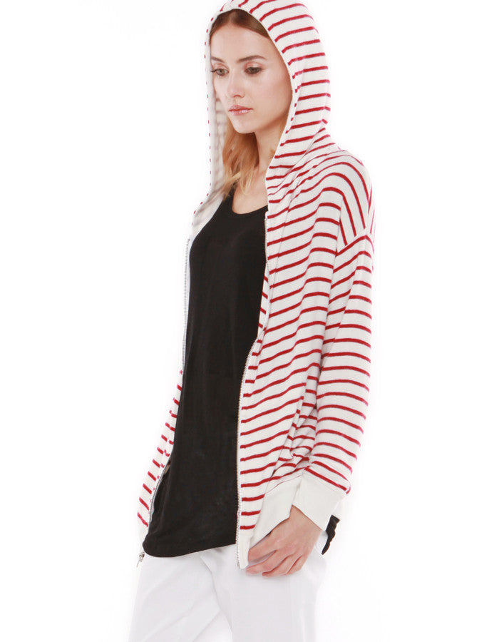 Luna Zip Up Hoodie Red Stripe<br><font color=red><STRIKE>USD $138.00</strike></font>