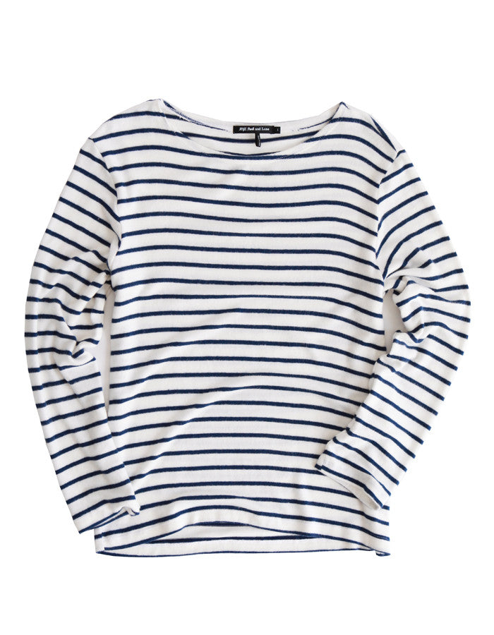 Mars Long Sleeve White/Navy Stripe