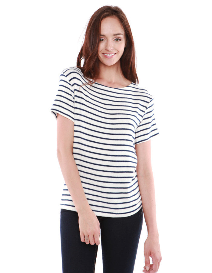 Mars Short Sleeve White/Navy Stripe<br><font color=red><STRIKE>USD $73.00</strike></font>