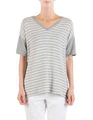Matilda Short Sleeve Heather Grey/White<br><font color=red><STRIKE>USD $79.00</strike></font>