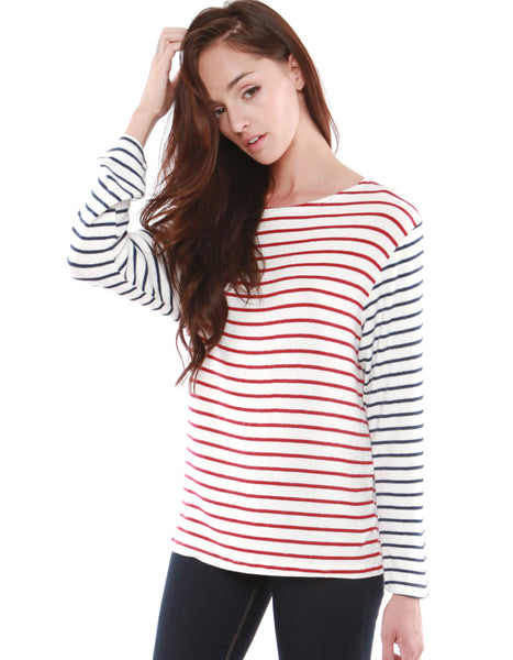Neptune Long Sleeve Red/Navy Stripe<br><font color=red><STRIKE>USD $79.00</strike></font>