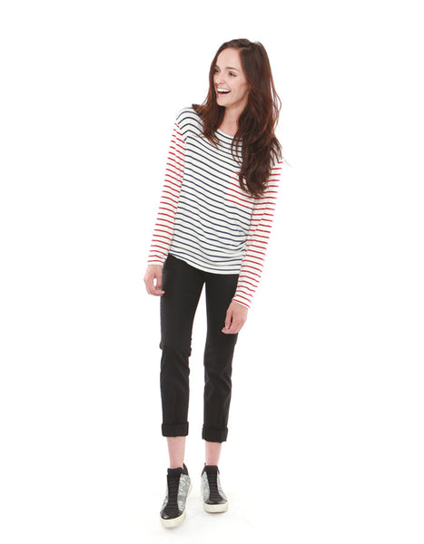 Pluto Long Sleeve Navy/Red Stripe<br><font color=red><STRIKE>USD $84.00</strike></font>