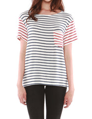 Pluto Short Sleeve Navy/Red Stripe<br><font color=red><STRIKE>USD $77.00</strike></font>
