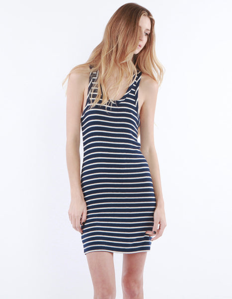 Rachel Dress Navy/White