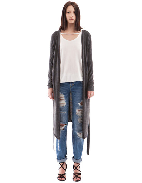 Taylor Long Cardigan Charcoal Black