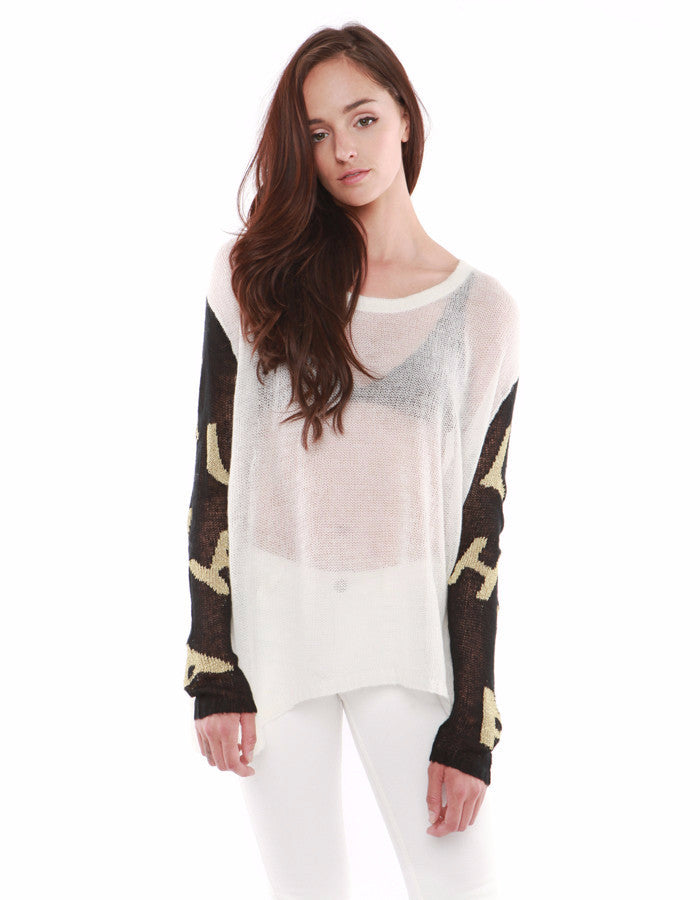 Venus Sweatshirts White/Black/Gold<br><font color=red><STRIKE>USD $128.00</strike></font>