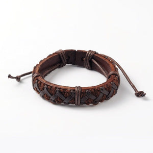 Leather braided wristband