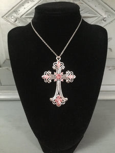 Pink Diamanté Cross Necklace