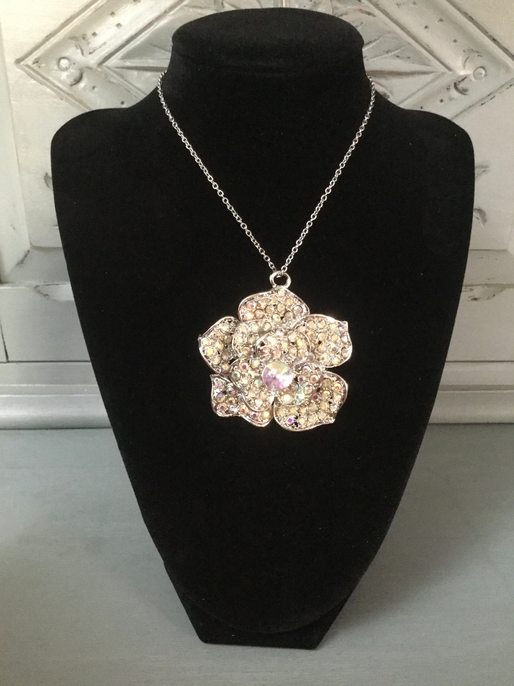 Large Diamanté Flower Necklace