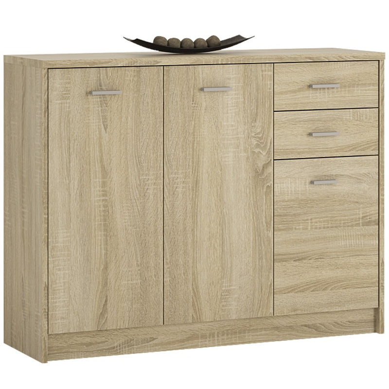4you 3 Door 2 drawer Wide Cupboard in Sonama Oak