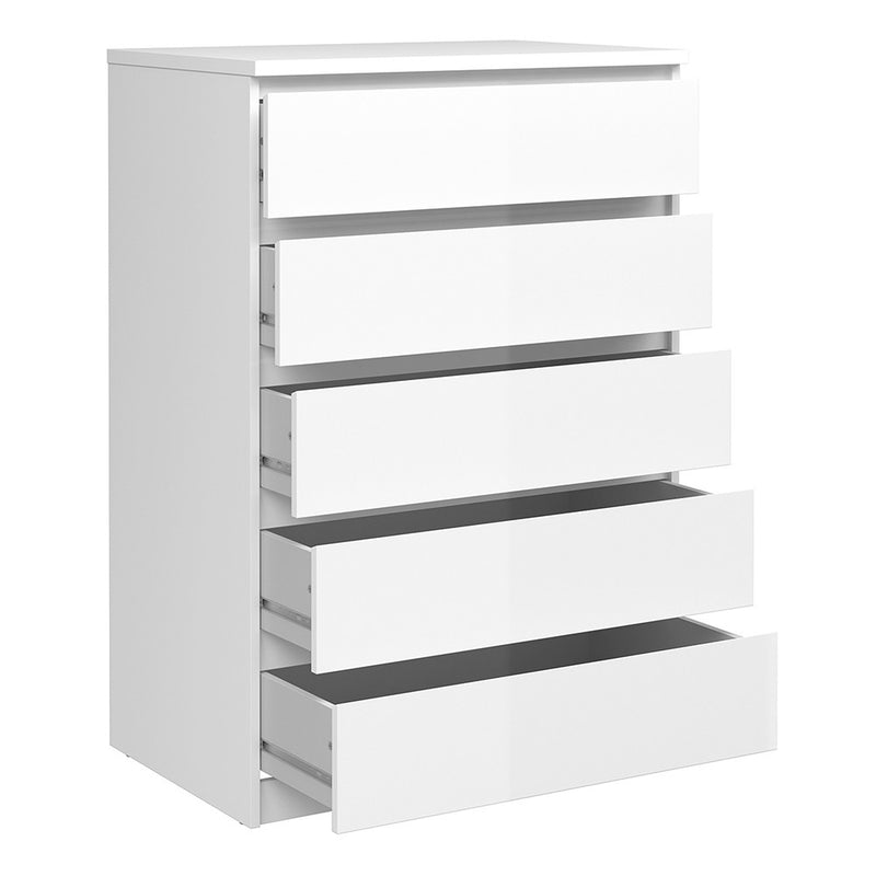 Naia Chest of 5 Drawers in White High Gloss