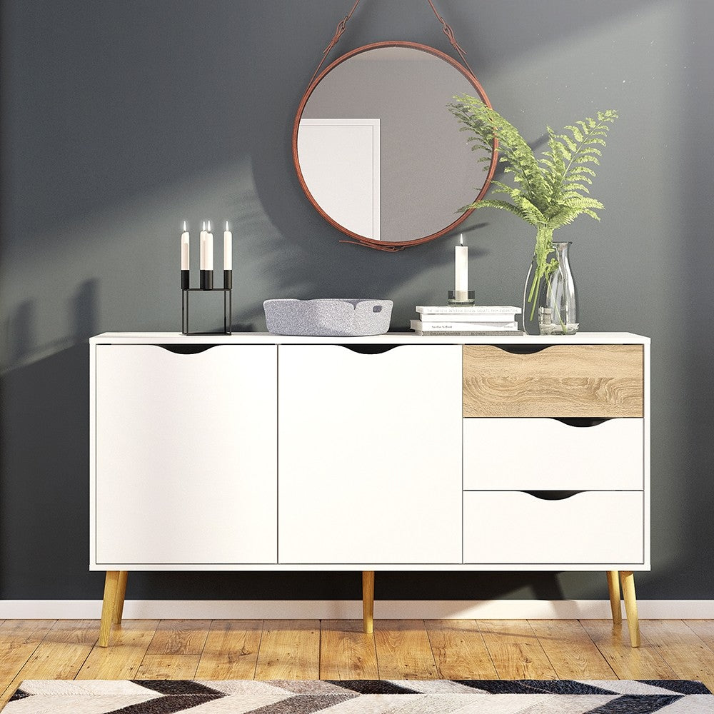 Oslo Sideboard 3 Drawers 2 Doors in White and Oak