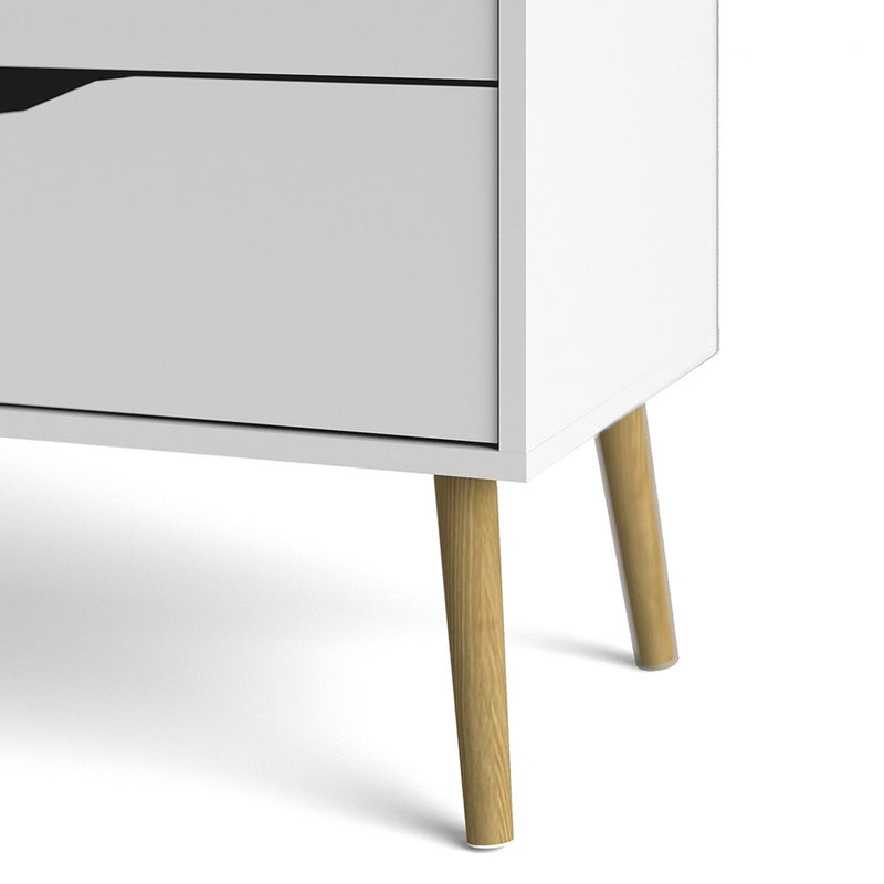 Oslo Chest of 4 Drawers (2+2) in White and Oak