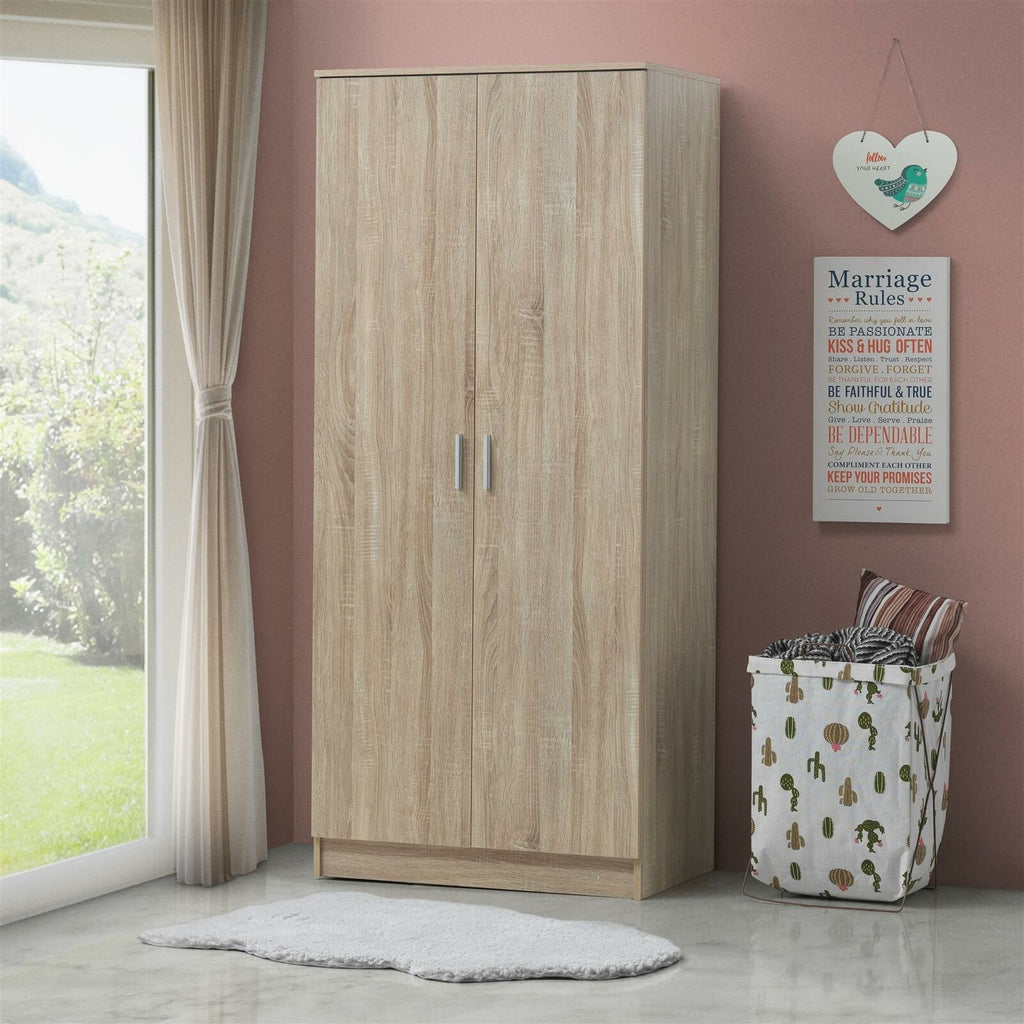 Rio Costa 2 Door Double Wardrobe In Sonoma Oak - Bedroom Furniture Storage Cupboard