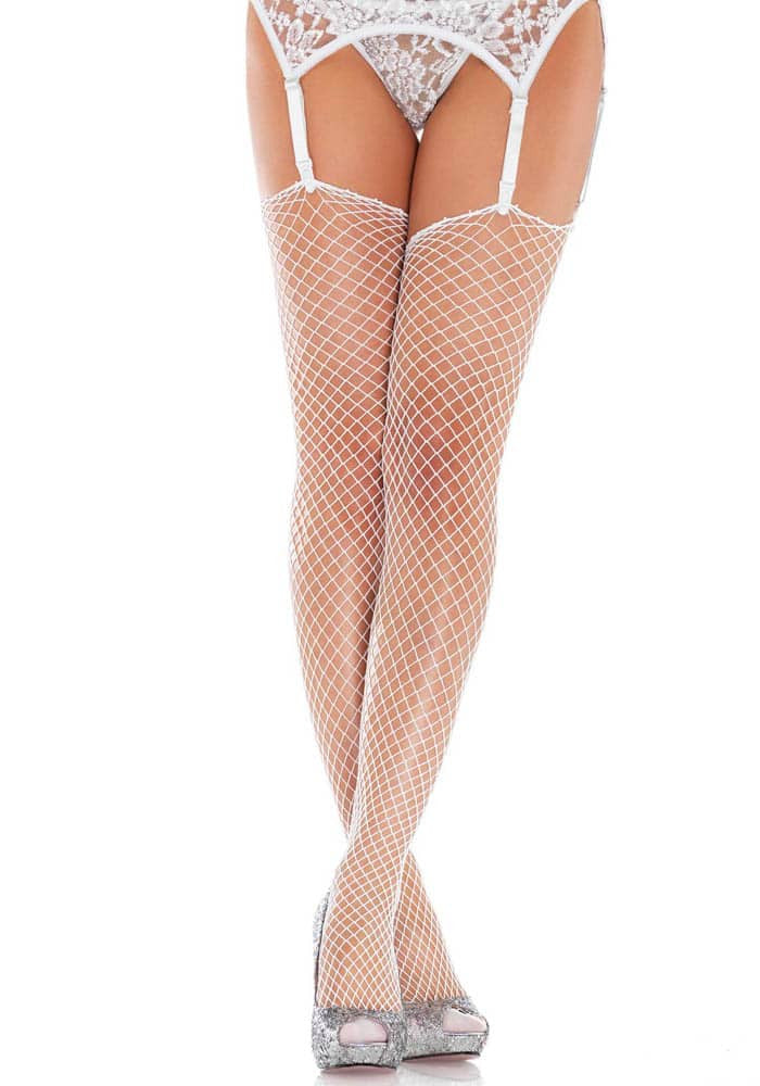 NET STOCKINGS - WHITE - O/S - HOSIERY