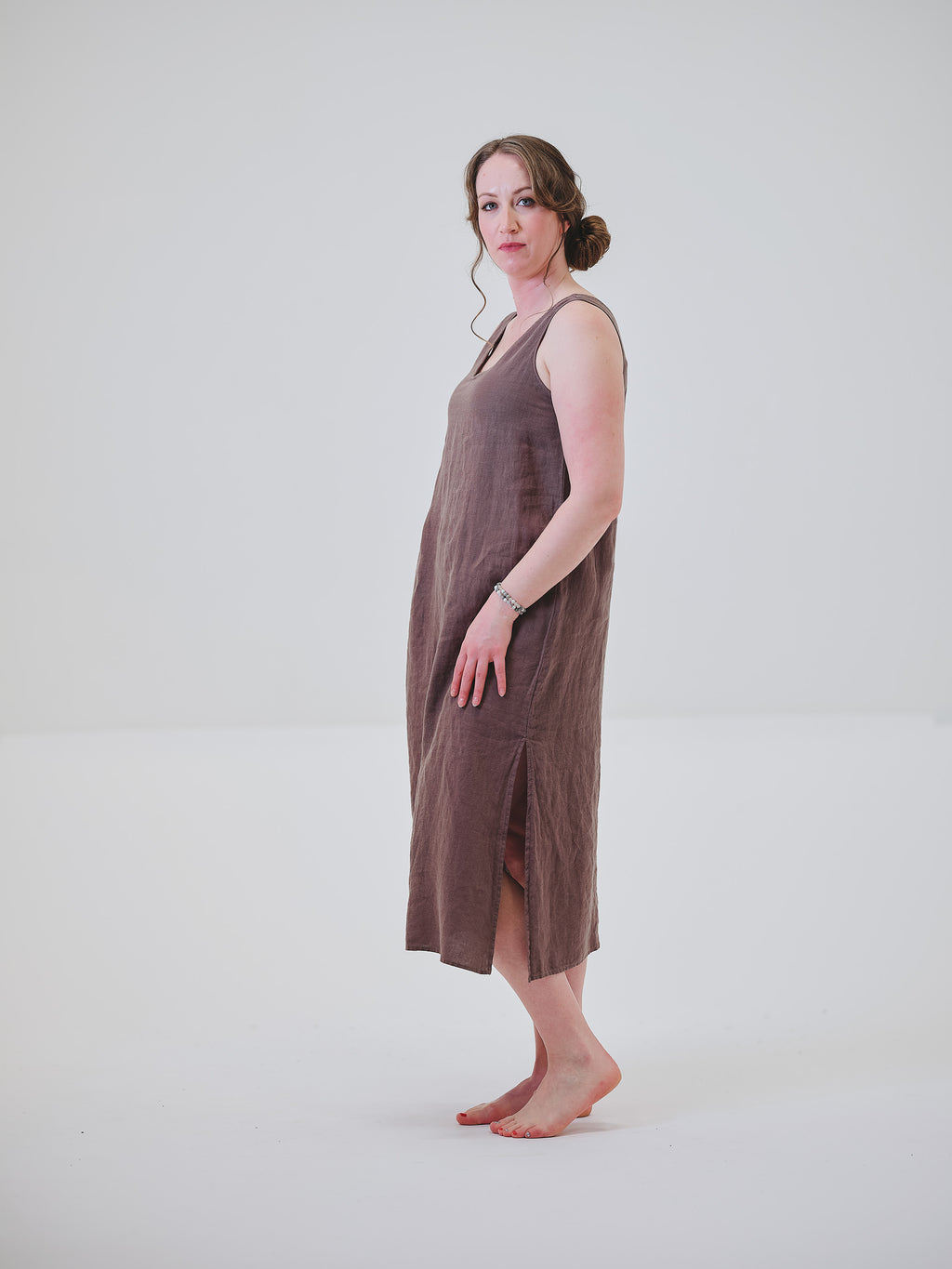 Linen Reversible Side-Slit Dress
