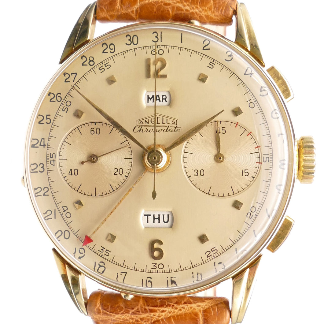 Angelus Chronodato 18K Solid Gold Vintage Chronograph Watch