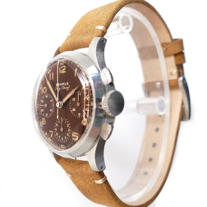 Benrus Sky Chief Brown Dial Stainless Steel Chronograph Watch