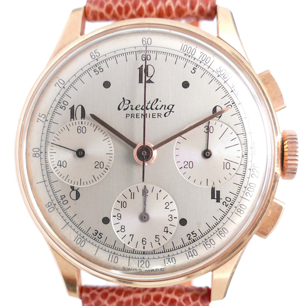 Breitling Premier 787 18K Rose Gold 1946 Vintage Chronograph Watch