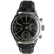 Load image into Gallery viewer, LeCoultre E335 Master Mariner Black Dial Valjoux 72 Chronograph Watch Circa 1972