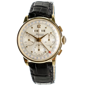Minerva Solid Gold Triple Date Chronograph Watch