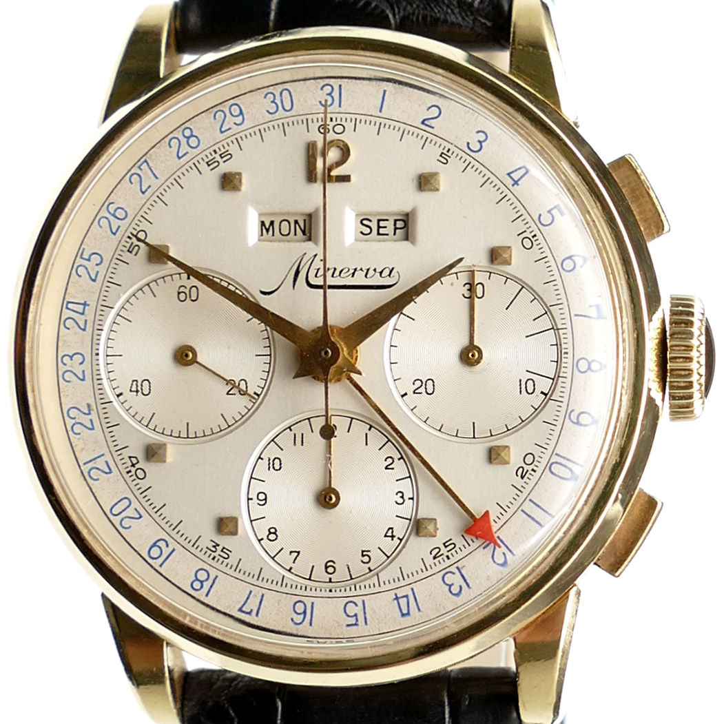 Minerva VF018 Solid Gold Triple Date Chronograph Watch