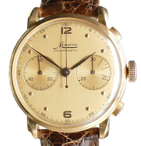 Minerva 18K Rose Gold Chronograph with Box