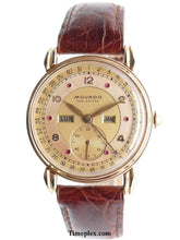 Load image into Gallery viewer, Movado 14K Gold Calendograph Ruby Dial Triple Date Calendar Watch Mens Vintage