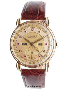 Movado 14K Gold Calendograph Ruby Dial Triple Date Calendar Watch Mens Vintage