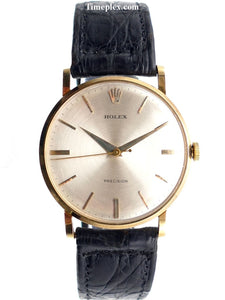 Rolex Precision 18K Gold Classic Dress Watch Reference 9659 Vintage Watches