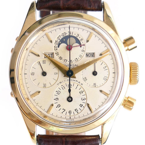 Universal Geneve 522100/1 Tri-Compax 14K Solid Gold Chronongraph