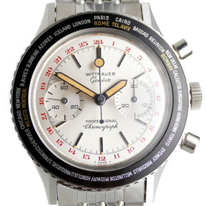 Wittnauer Globe Master 240T Mint Original Vintage World Time 24 Hour Chronograph