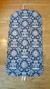 Blue Toile Hanging Garment Bag