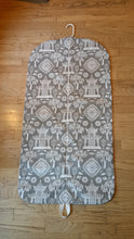 Load image into Gallery viewer, Gray and Off White Pagoda Print Hanging Garment Bag