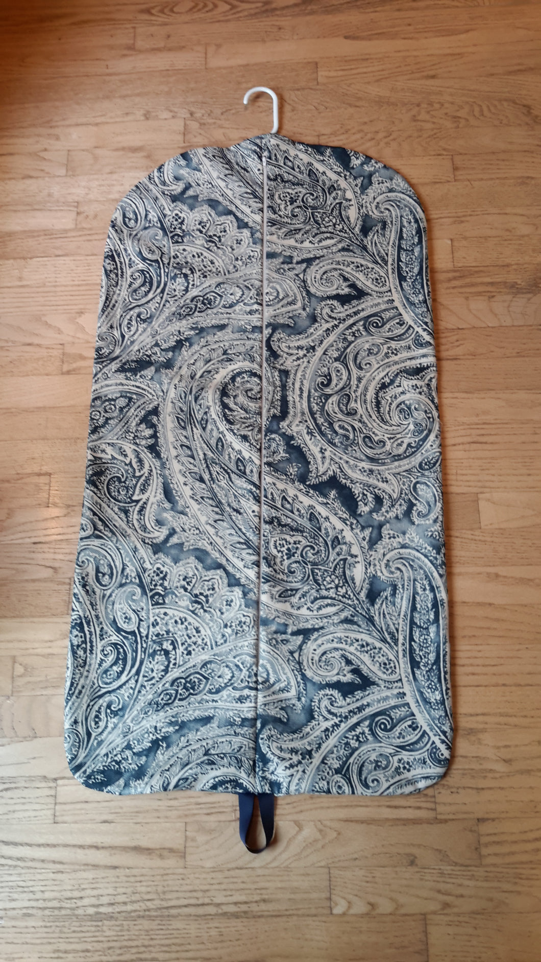 Navy Paisley Hanging Garment Bag