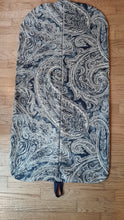 Load image into Gallery viewer, Navy Paisley Hanging Garment Bag