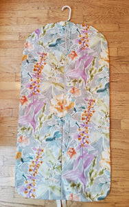 Grey and Purple Floral Garment Bag for Ladies