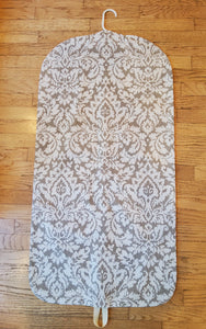 Beige Damask Look Hanging Garment Bag