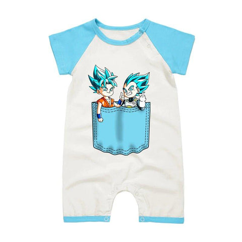 DBZ Goku And Vegeta Light Blue Short Sleeve Baby Romper - DBZ Saiyan