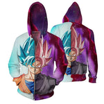 DBZ Goku SSGSS God Blue Rose Saiyan Fashion Zip Up Hoodie - DBZ Saiyan