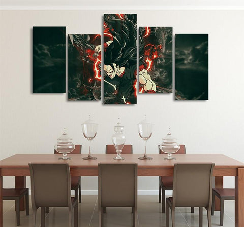 Vegito Dark Super Saiyan 3 Asymmetrical 5pcs Wall Art Canvas Print - DBZ Saiyan