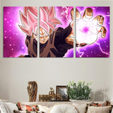 DBS Goku Rose Black Power Ball 3pcs Wall Art Canvas Print - DBZ Saiyan