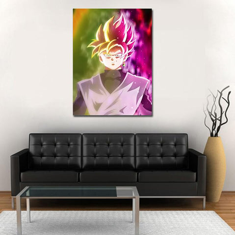 Super Saiyan Rose Cool Half Aura 1pc Wall Art Canvas Print - DBZ Saiyan